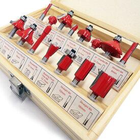 送料無料 超硬 トリマー ルータービットセット 赤 ルータービット 15本セット 軸径:6mm電動ルーター用 ドリル ミニドリル 木工 工具 電動工具 木箱入り