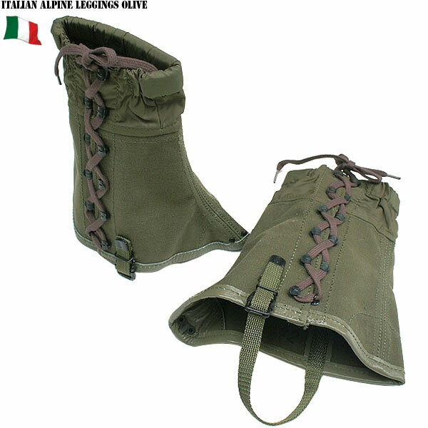只今20%OFF◆実物 新品 イタリア軍 アルパイン レギンス オリーブ ブーツの上から脹脛を保護 ズボンの裾が障害物に 引っかからないようにする為のアイテム 【ミリタリー】 WIP メンズ ミリタリー アウトドア【父の日ギフト プレゼントに】