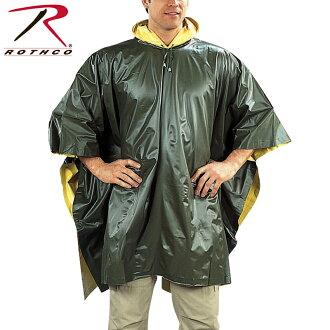 ROTHCO rothco 可逆 PVC 雨披 OD/黄色男式军用夹克雨衣雨雨披雨季防水户外运动 ROTHCO 罗斯科