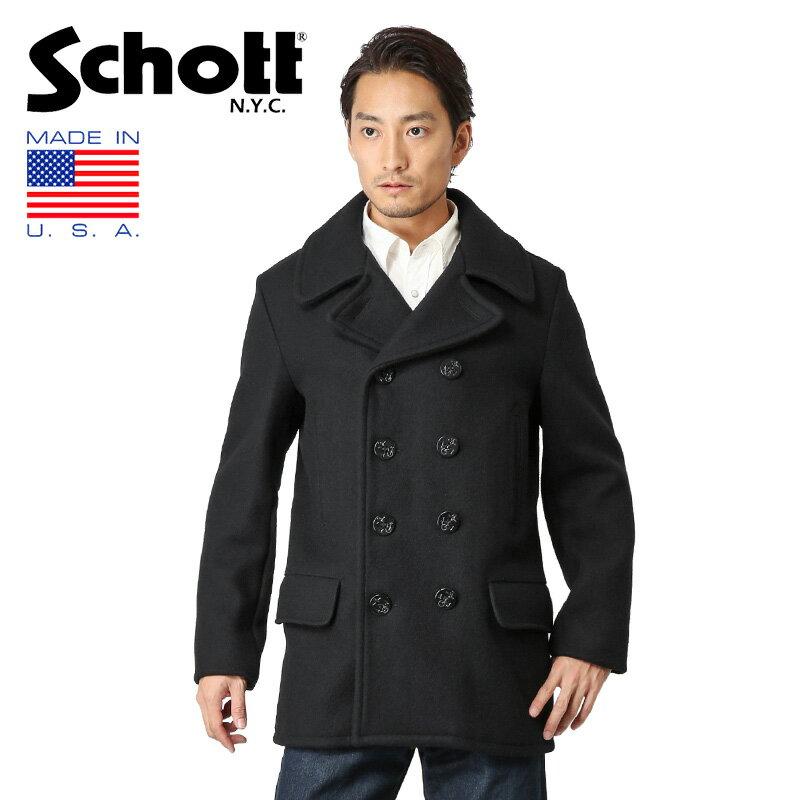 Schott ショット 782US WOOL 4ポケット ミドル ピーコート NAVY 7378 WIP メンズ ミリタリー アウトドア ブランド【新生活 新学期 買い替えに】【クーポン対象外】
