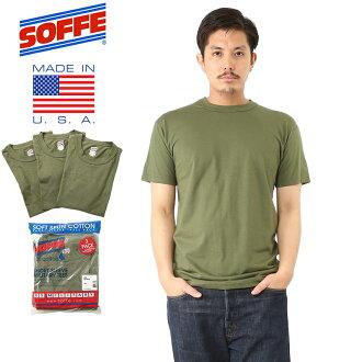 SOFFE 소피 미군 사용 3PACK 코 튼 100% T 셔츠 OD GREEN 남성 밀리터리 상판 이너 팩 T-셔츠 미국제 MADE IN USA 코 튼 100% 반 팔 크루 넥 실내 용 미군 미군 WIP 10P09Jan16