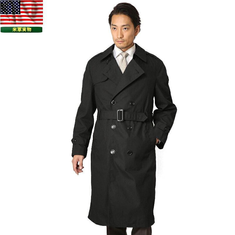 実物 新品 米軍U.S. NAVY ブラックトレンチコート【Small-Medium】 ミリタリーコート 大きいサイズ WIP メンズ ミリタリー アウトドア 【クーポン対象外】