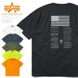 【即納/あす楽】ALPHA アルファ TC1406 ビッグシルエット 半袖クルーネックTシャツ BLOODCHIT / メンズ レディース トップス カットソー インナー ミリタリー カジュアル プリントT 大きいサイズ ゆったり オーバーサイズ ロゴ ワンポイント ブランド