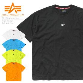 【あす楽】今なら40%OFF★ALPHA アルファ TC1406 ビッグシルエット 半袖クルーネックTシャツ ONE POINT【クーポン対象外】 / メンズ レディース トップス カットソー インナー ミリタリー カジュアル プリントT 大きいサイズ ゆったり ロゴ ワンポイント ブランド