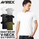 ポイント10倍!AVIREX アビレックス デイリー 半袖 Vネック(6143501) ミリタリーシャツ ミリタリー Tシャツ メンズ イ…