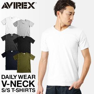 ポイント10倍!AVIREX アビレックス デイリー 半袖 Vネック(6143501) ミリタリーシャツ ミリタリー Tシャツ メンズ インナー トレーニング タイトフィット ジムウェア 袖短め WIP 【クーポン対象外