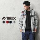 ミリタリージャケット メンズ / AVIREX アビレックス 6103517 TOP GUN ウインドガードジャケット【クーポン対象外】 / スウェットジャケット スタンドカラー ロゴ ワッペン ブラ