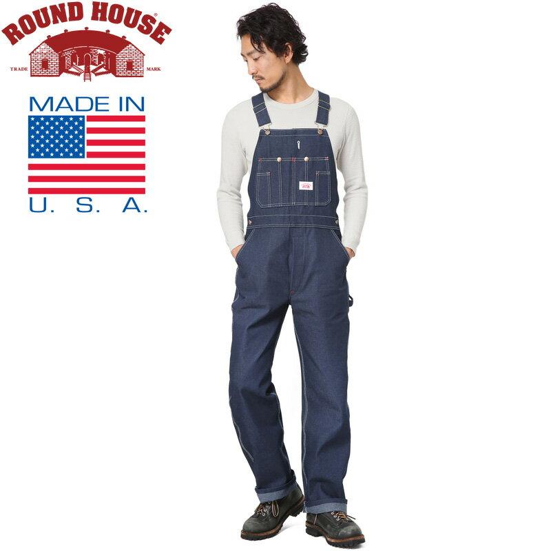 15%OFFクーポン対象◆Round House ラウンドハウス 17RH966 米国製 CLASSIC DENIM BIB オーバーオール WIP メンズ ミリタリー アウトドア