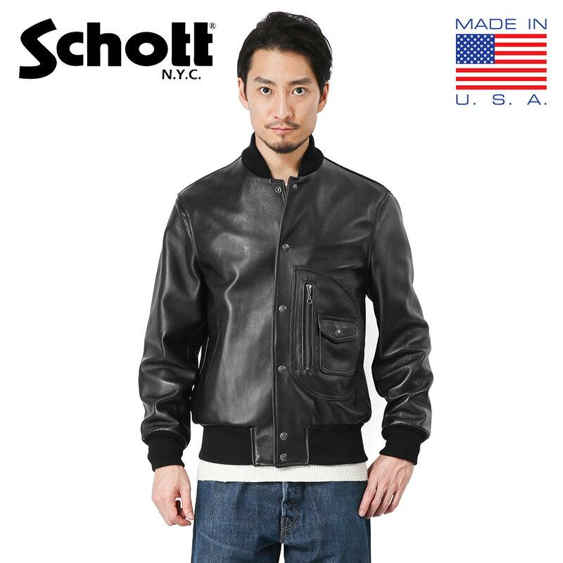 Schott ショット 7571 267US Dポケット レザーヴァーシティージャケット MADE IN USA【クーポン対象外】