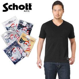 Schott ショット 3133036 S/S Vネック ポケット Tシャツ WIP メンズ インナー 半袖 ミリタリー アウトドア ブランド ミリタリーシャツ men's 【クーポン対象外】【父の日ギフト プレゼントに】