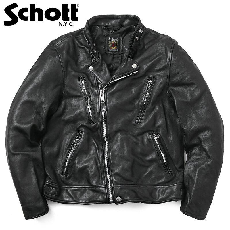 Schott ショット 3181067 ダブル ブレスト ライダースジャケット ブランド 革ジャン レザージャケット WIP メンズ ミリタリー アウトドア【クーポン対象外】【父の日ギフト プレゼントに】