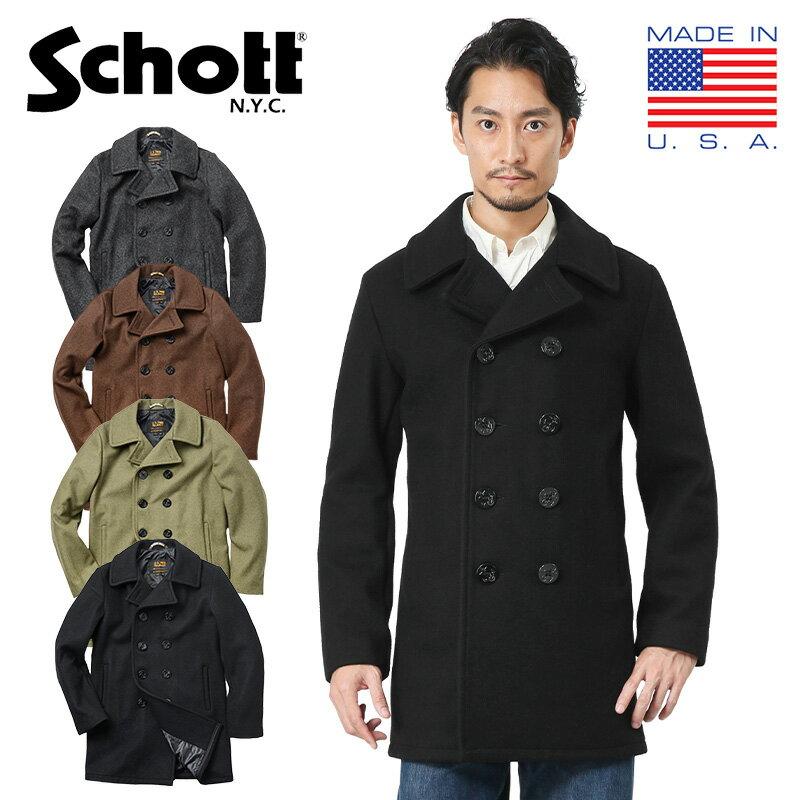 Schott ショット 7500 753UST 日本別注 24oz スリムフィットピーコート TALL【新生活 新学期 買い替えに】 WIP メンズ ミリタリー【クーポン対象外】