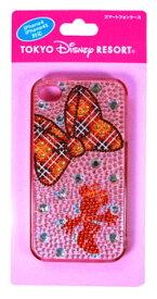ディズニー  ミニーリボン柄ラインストーン付きのスマートフォンケース(i Phone4,i Phone4S対応)