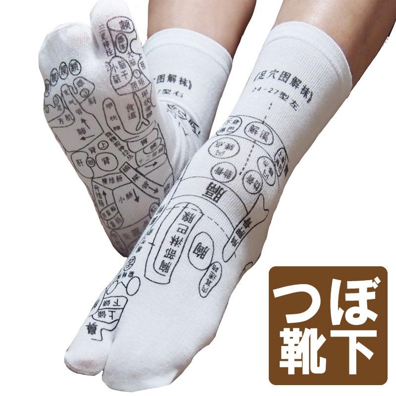 足裏につぼをプリントしたユニークな靴下 足ツボソックス 反射区 プリント くつした ツボ押しやすい サイズ22〜26センチ メール便発送 注目商品