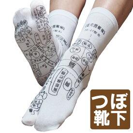 【送料無料】足裏につぼをプリントしたユニークな靴下 足ツボソックス 反射区 プリント くつした ツボ押しやすい サイズ22〜26センチ プリントは中国語 メール便発送 注目商品