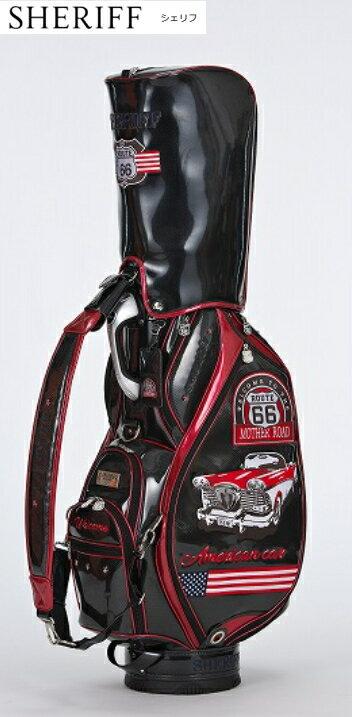 【限定・激安】シェリフ SHERIFF SP-003 キャディバッグ アメリカンシリーズ カートタイプ 9型 BLACK/RED 新品!