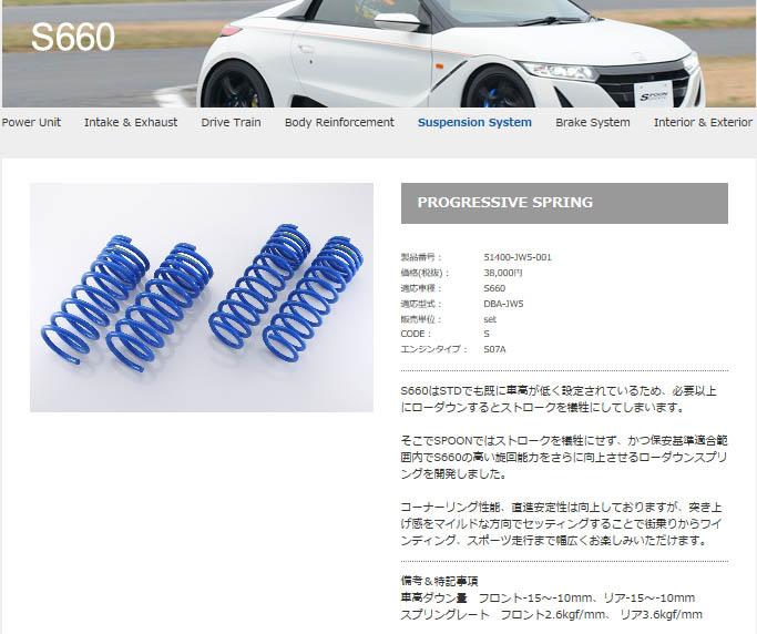 SPOON プログレッシィブ スプリング [S660 JW5] スプーン パーツ 新品