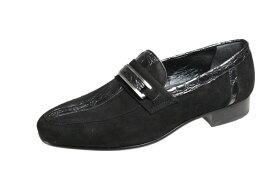 イタリアンエレガンスのメンズシューズ3006ブラックスエードマドラスルテシア紳士靴クロコダイルの型押し革とスエードのコンビスリッポン
