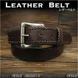 b296181a526b 本革ベルト レザーベルト サドルレザー ダークブラウン ハンドメイド Genuine Leather Belt Dark Brown WILD