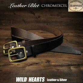 メンズ ベルト 本革 Horween ハンドメイド ブラウン/ブラック Horween Chromexcel Leather Belt Pin Buckle Brown/BlackWILD HEARTS Leather&Silver (ID horweenbelt_t57)