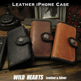 送料無料 iPhoneケース スマホケース 手帳型 馬革 スマホカバー ビンテージ加工 3色 コンチョ付き Genuine Leather Wallet Card Holder Cover Flip Case for iPhone Horsehide 3 Colors WILD HEARTS Leather&Silver (ID ip3749)