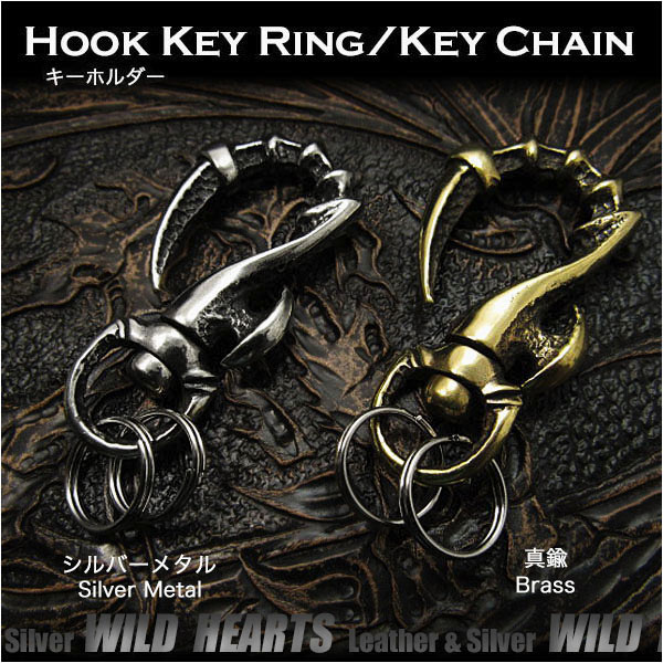 トライバル キーフック キーホルダー キーリング メタル Tribal Hook Key Ring Keychain Metal WILD HEARTS Leather&Silver(ID kh3469k5)