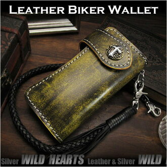 摩托车 骑自行车的钱包 真皮钱包 定制的 手工制造 Motorcycle Biker wallet Genuine Leather Wallet Custom Handmade WILD HEARTS Leather&Silver (ID lw0123)
