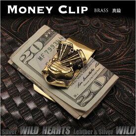 ブラス 真鍮製マネークリップ ハーレー エンジン Brass Mens Fashion Money Clip Purse Wallet Card Cash Holder Harley Davidson Motorcycle Engine DesignWILD HEARTS Leather&Silver (ID mc3820r3)
