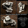 Harley Davidson Motorcycle Engine V-Twin, Shovel Evolution Engine Sterling Silver Pendant Necklace WILD HEARTS Leather&Silver (Item ID pt2786)
