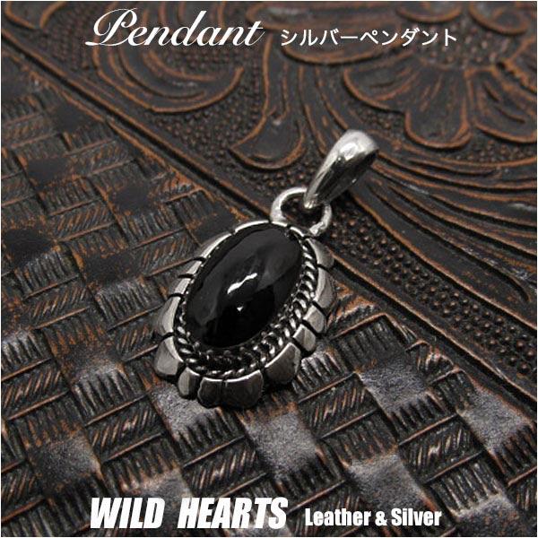 シルバーペンダントトップ オニキス シルバーアクセサリー  ナバホ族 ネイティブアメリカン スタイル メンズ/レディース Sterling Silver 925 Pendant Necklace Native American Navajo StyleWILD HEARTS Leather&Silver (ID 03k7)