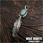 ペンダントトップ/ネックレストップ/インディアンジュエリー/シルバー925/ターコイズ/ナバホスタイル/Silver925/sterlingsilver/Turquoise/Pendant/WILD/HEARTS/Leather&Silver