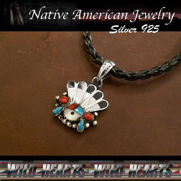 シルバーペンダントトップ/シルバー925/サンフェイス/インディアンジュエリー/Native American pendant/Silver 925/Sunface WILD HEARTS leather&silve (ID 15k7)