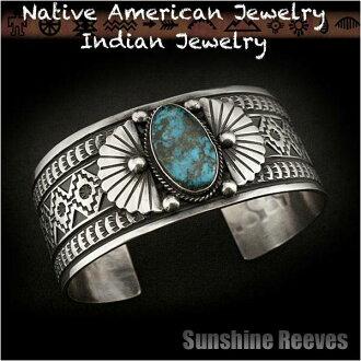 印度饰品手链手镯阳光穿过绿松石银 925 纳瓦霍族部落美洲原住民印度珠宝首饰 925 纯银手链阳光穿过纳瓦霍人
