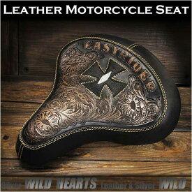 バイク サドルシート/カスタムシート ソロ/シングル 本革 カービング Cross Carved Leather Single/Solo Saddle Seat Motorcycle Harley-Davidson StingrayWILD HEARTS Leather&Silver (ID bc3571)