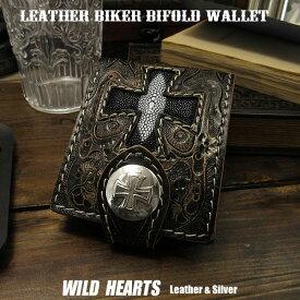 二つ折り財布 レザーウォレット 革財布 ショートウォレット 財布 Skull Hand Made Carved Leather Bifold Wallet StingrayWILD HEARTS Leather&Silver (ID sw0545)