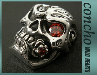 银925财布扣实心银头骨与红宝石红锆Silver 925 Concho Solid Silver Skull with Ruby Red Zirconium WILD HEARTS leather&silver(ID con1014)