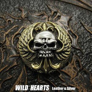 コンチョ シルバー925 真鍮  スカル/ドクロ Concho Skull Angel Wings Sterling Silver 925&BrassWILD HEARTS Leather&Silver (ID cc2256)