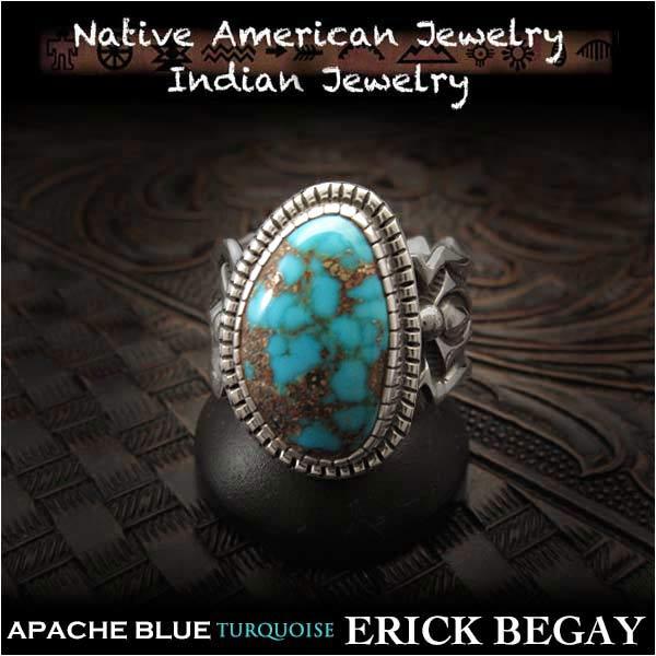 新品 エリックビゲィ/Erick Begay リング 29号 アパッチブルー ターコイズ インディアンジュエリー シルバー925Erick Begay ring size#15 Apache Blue Turquoise Native American Indian Jewelry Sterling Silver 925(ID na3194r73)