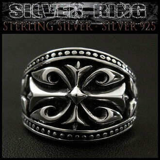 纯银戒指/蔓藤花纹十字/925环 STERLING SILVER RING/ARABESQUE CROSS/Silver 925 Ring WILD HEARTS Leather&Silver (ID sr0772kr406)