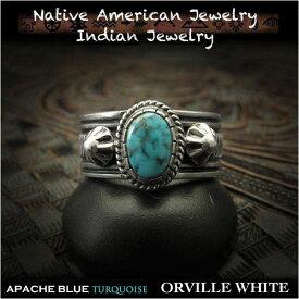 新品 オーヴィル・ホワイト/Orville White リング 23号 アパッチブルー ターコイズ インディアンジュエリー シルバー925 ナバホ族Orville White ring USA size#11 Apache Blue Turquoise Indian Jewelry Sterling Silver (ID na3199r73)