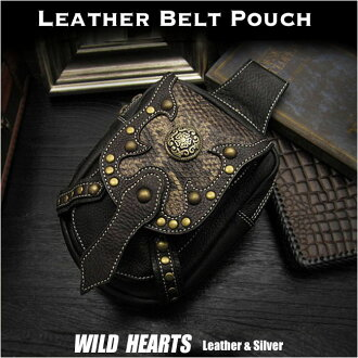 정품 쇠가죽 채찍 가죽 허리 파우치 / 엉덩이 가방 / 파우치 벨트 / 의학 가방 / 파이톤 Genuine Cowhide Leather Waist Pouch/Hip Bag/Pouch Belt/Medicine Bag Python WILD HEARTS leather&silver(ID wp0874r44)