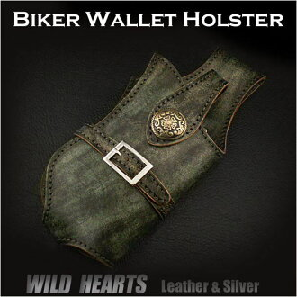 진짜 가죽 지갑 권총 자전거 타는 사람 지갑 상자  Genuine Leather Wallet Holster Biker wallet case WILD HEARTS Leather&Silver