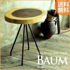 切り株サイドテーブルBAUM(バウム)木製無垢材耳つきサイドテーブル円形鉄脚アイアンブルックリン