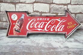 ブリキ 立体看板 ウォールサイン アメリカンレトロ アメリカ雑貨 電球付 矢印 Coca Cola コカコーラ 瓶 ボトル 【BR-01】