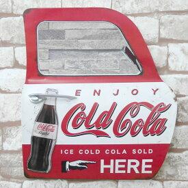 アメリカンレトロ ドア型プレート 看板 ブリキ アメリカ雑貨 置き型 壁掛け 鏡付き コカコーラ Coca Cola 赤 BZ-135
