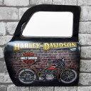 アメリカンレトロ ドア型プレート ブリキ アメリカ雑貨 壁掛け ハーレーダビッドソン HARLEY-DAVIDSON バイク 鏡付き 19