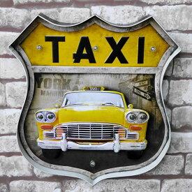 ブリキ 立体看板 ウォールサイン アメリカンレトロ アメリカ雑貨 電球付 イエロー タクシー TAXI 【BR-21】