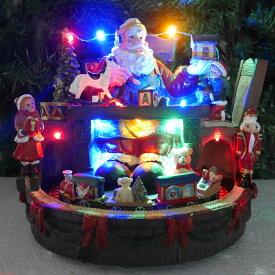 【エントリーで全品P10倍!8/4 20:00〜8/11 01:59まで】クリスマス イルミネーション ジオラマ オールドビレッジ プレゼント ビックサンタ 走る機関車 照明 くま ツリー おもちゃ クリスマスソング8曲収録 24cm×21cm JM-04