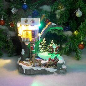 【エントリーで全品P10倍!8/4 20:00〜8/11 01:59まで】クリスマス イルミネーション ジオラマ サンタ ツリー スノー 雪 トナカイ ソリ ブランコ プレゼント 装飾 照明 クリスマスソング8曲収録 18×26cm JM-30