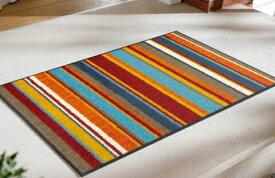 玄関マット Stripes burnt orange 50x75cm (屋外・屋内兼用)